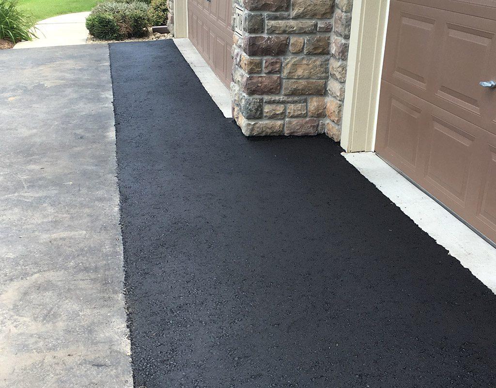 Asphalt driveway apron repair patch